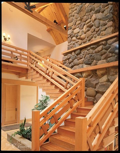 Best Beautiful Stone And White Cedar Staircase Log Homes 400 x 300