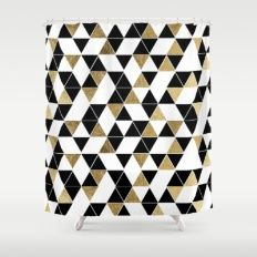 black white and gold shower curtain. Modern Black  White And Faux Gold Triangles Shower Curtain Apt