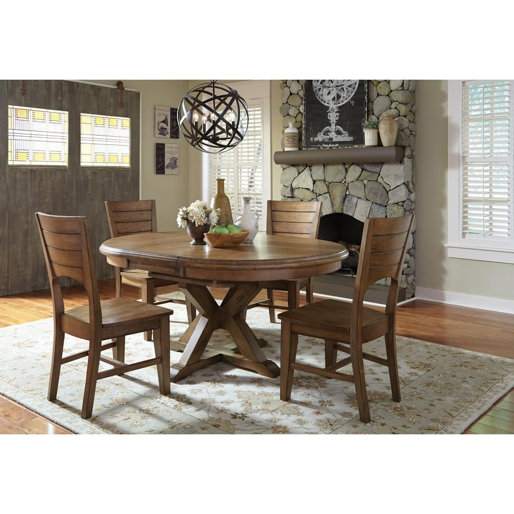 International Concepts Canyon Pecan Wood Dining Chair Set Of 2 Distressed