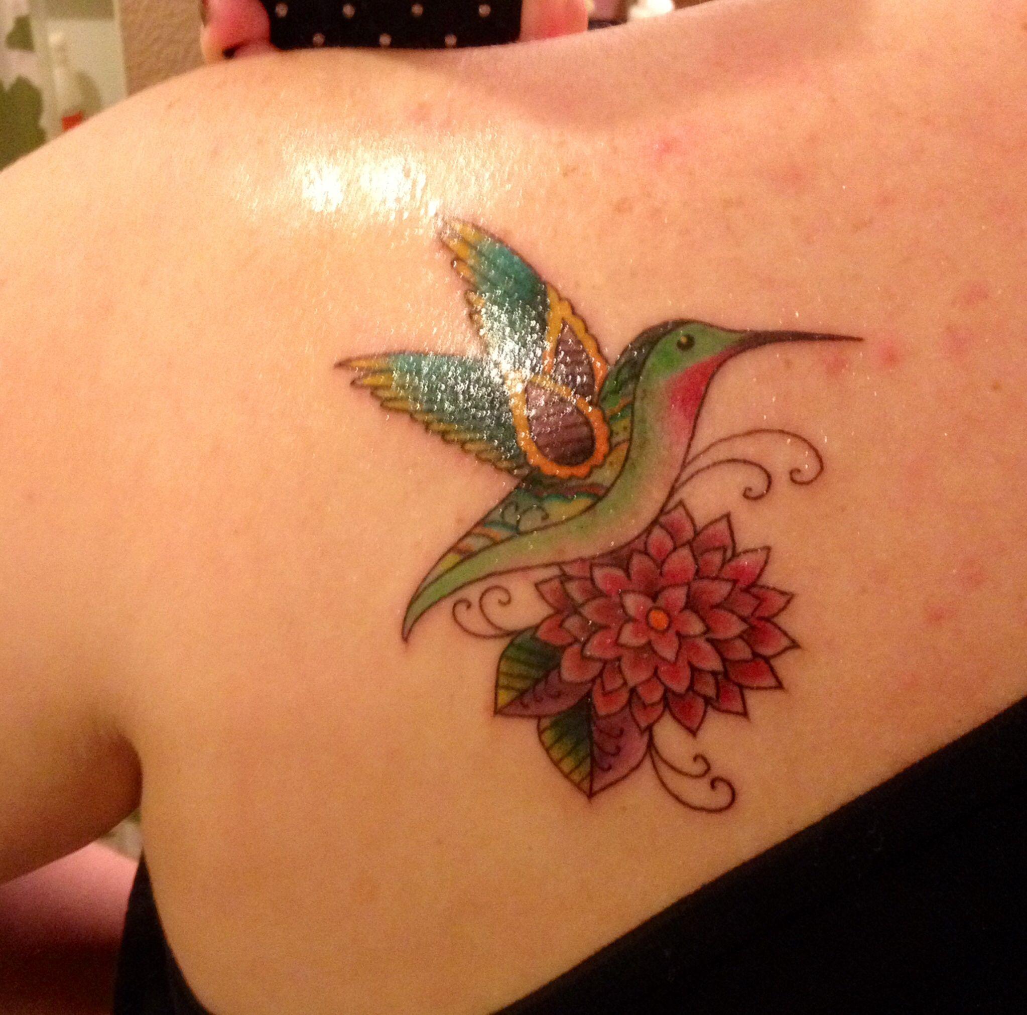 Austin Watercolor Tattoo: My First Tattoo. Hummingbird And Dahlia. Amillion Tattoo
