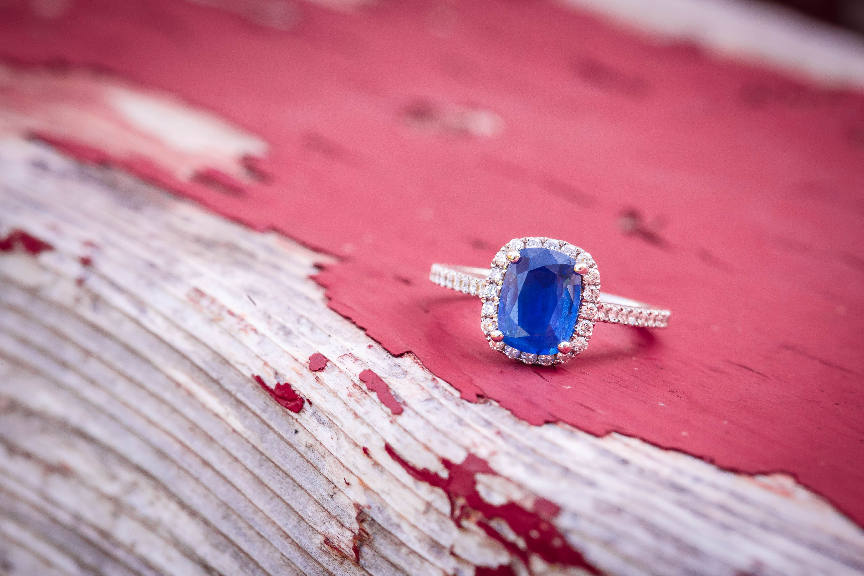 Diamond & blue gemstone engagement ring. Brady McCloskey Photography ...