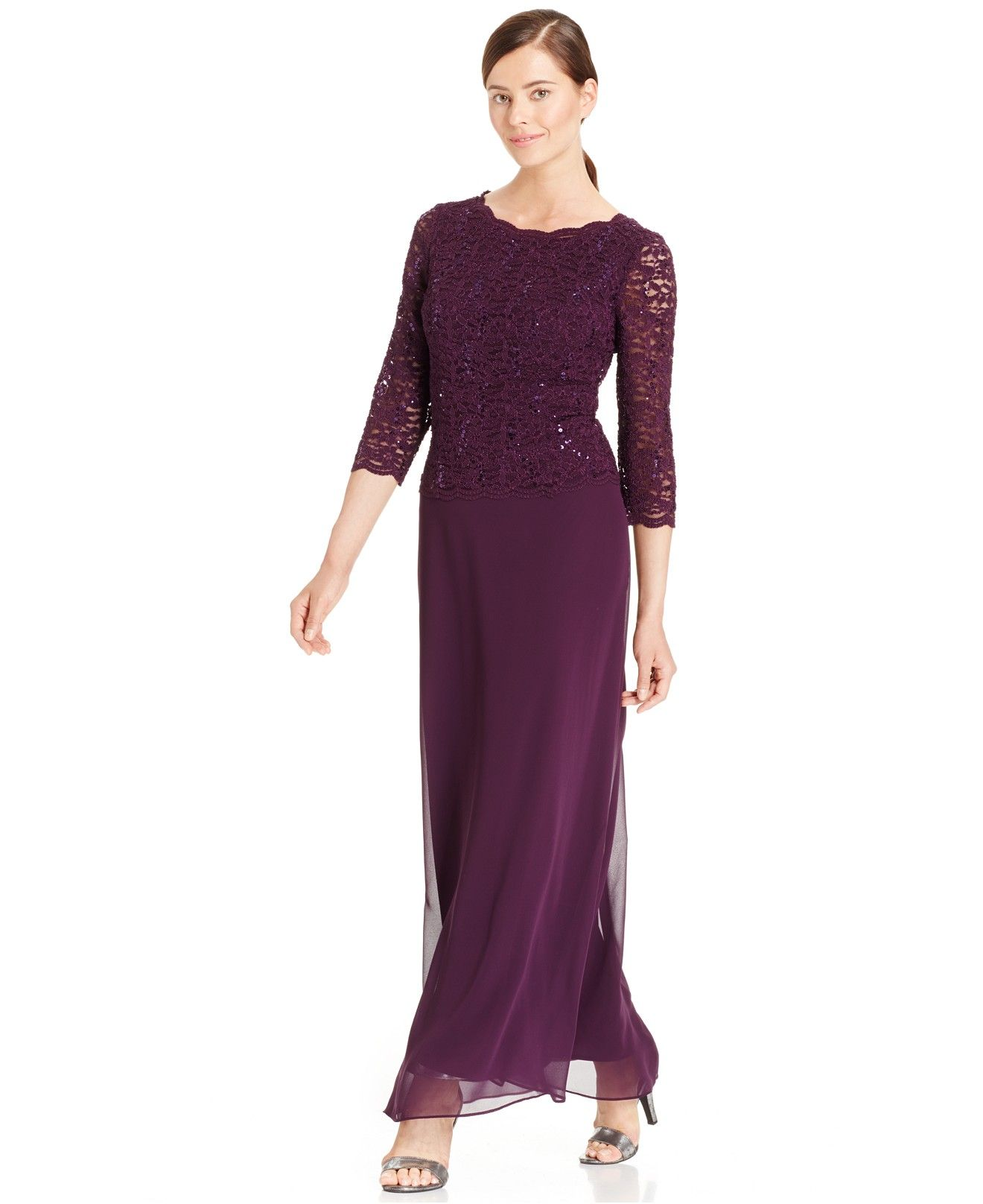 f71d58c17c0 Alex Evenings Elbow-Sleeve Sequined Lace Gown - Dresses - Women - Macy s