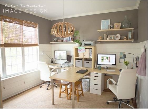 Home Office Two Desks Design For People Good Looking Person