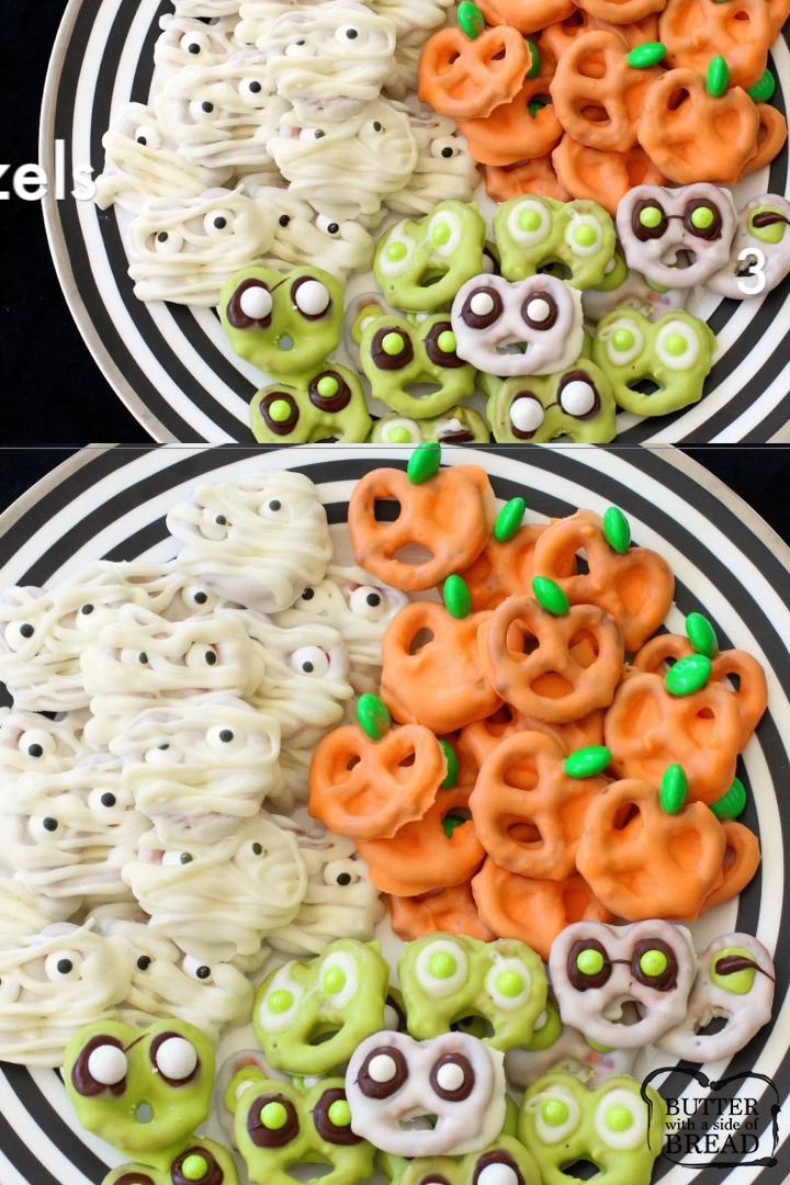 Easy Halloween Pretzels #halloweenappetizerideas