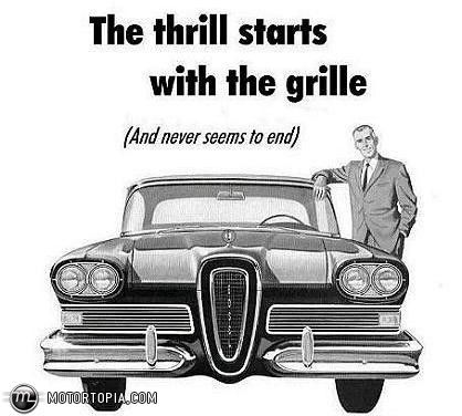 edsel the thrill starts with the grille vintage automobile print ads pinterest ford. Black Bedroom Furniture Sets. Home Design Ideas