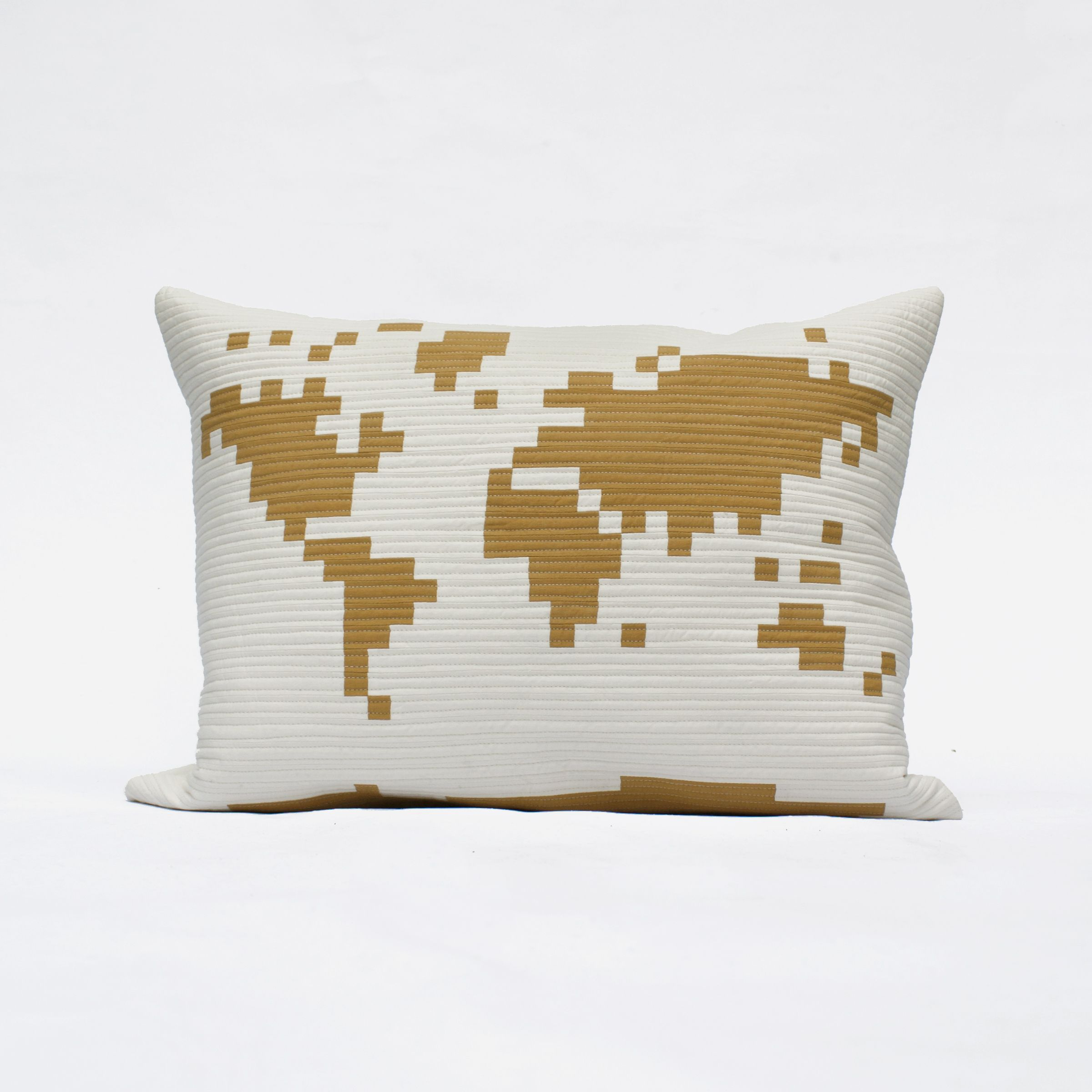 Quilted pixelated world pillow the world design is pieced into a