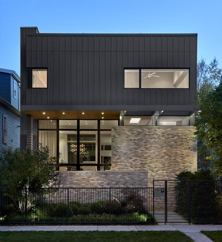 Modern Home With Exterior Brick Siding Material Flat Roofline House Wood Siding Material Glass Siding Exterior Brick Contemporary House Farmhouse Exterior