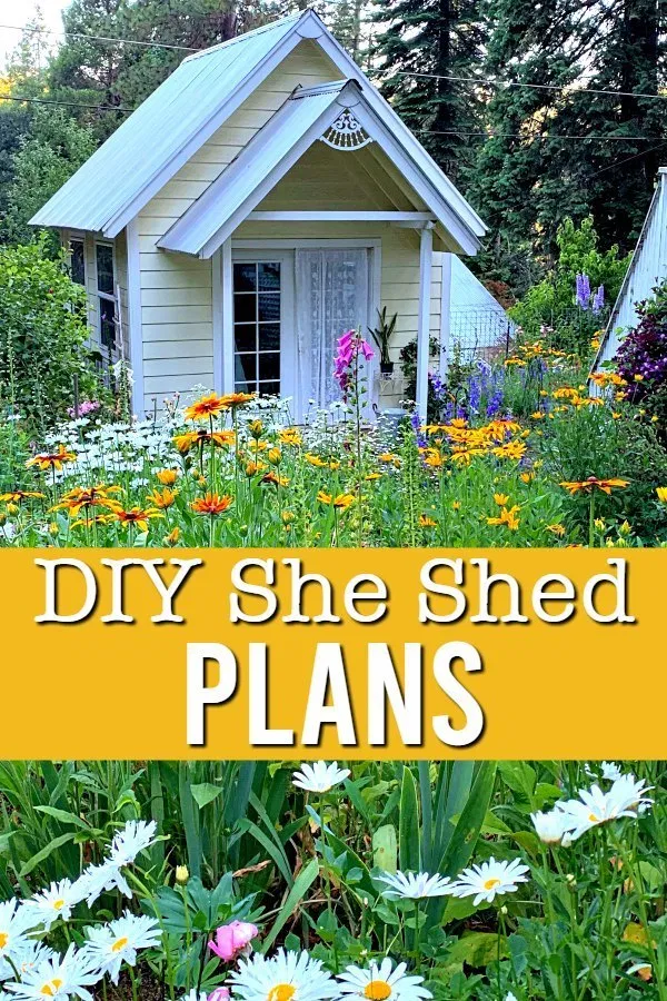Build your own DIY She Shed with these plans. Step by step instructions with useful resource links. Its less expensive than pre-built sheds. #sheshed #diytinyhouse #flowerpatchfarmhouse #gardencottage #gardenshed
