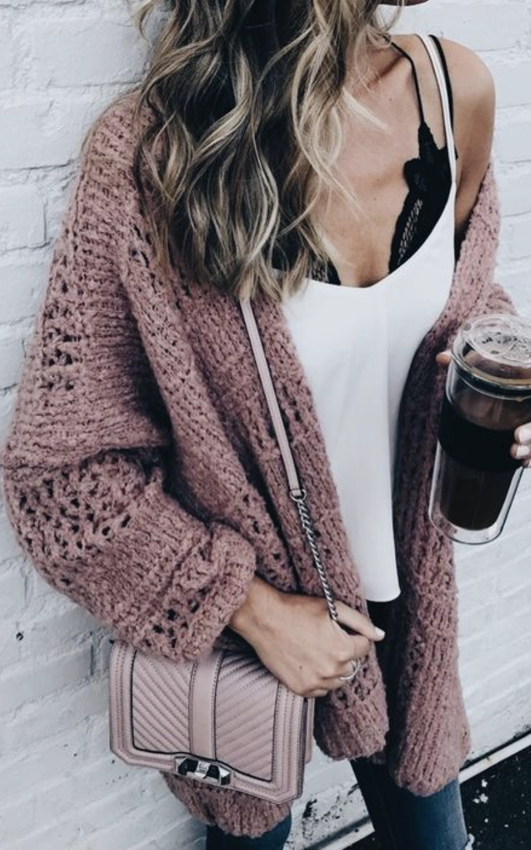 f28a72a946 free people adella lace bralette + satin tank top + open knit cable  cardigan + skinny jeans + blonde balayage curls  ootd  outfits