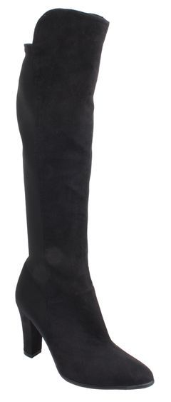 Black microsuede tall boot with nylon stretch fabric at rear