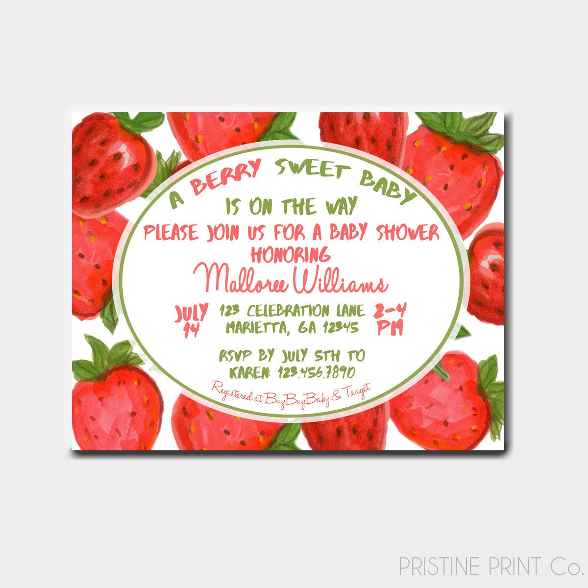 A BERRY Sweet Baby Shower Invitation | A BERRY Sweet Birthday ...