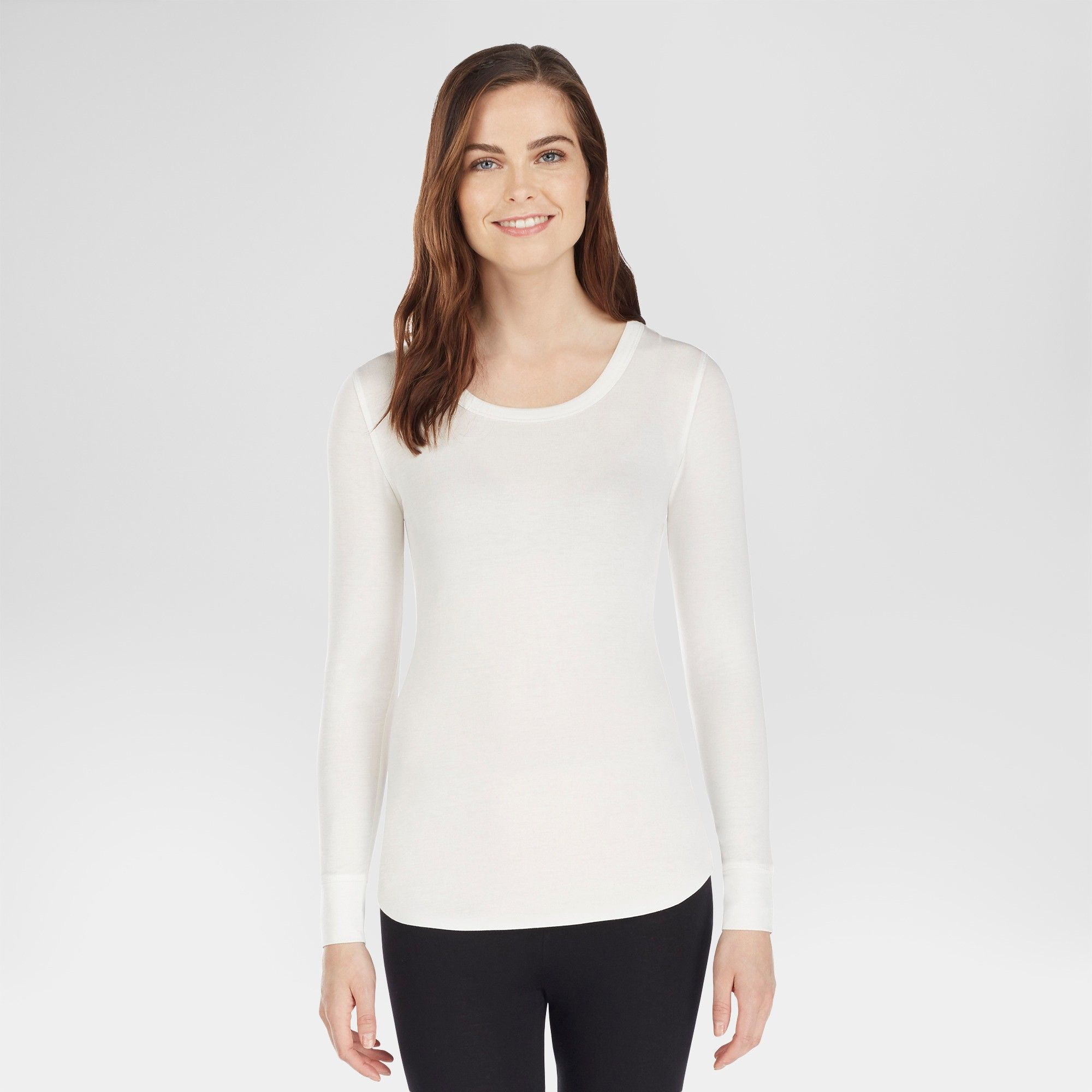 53a386bbef9 Warm Essentials by Cuddl Duds Women's Smooth Stretch Thermal Scoop Neck -  Ivory 3X, Size: 2XL