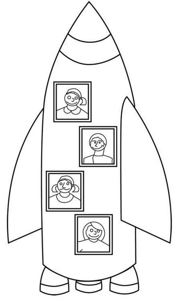 My Family Rocket Ship Vacation Coloring Page - Download ...