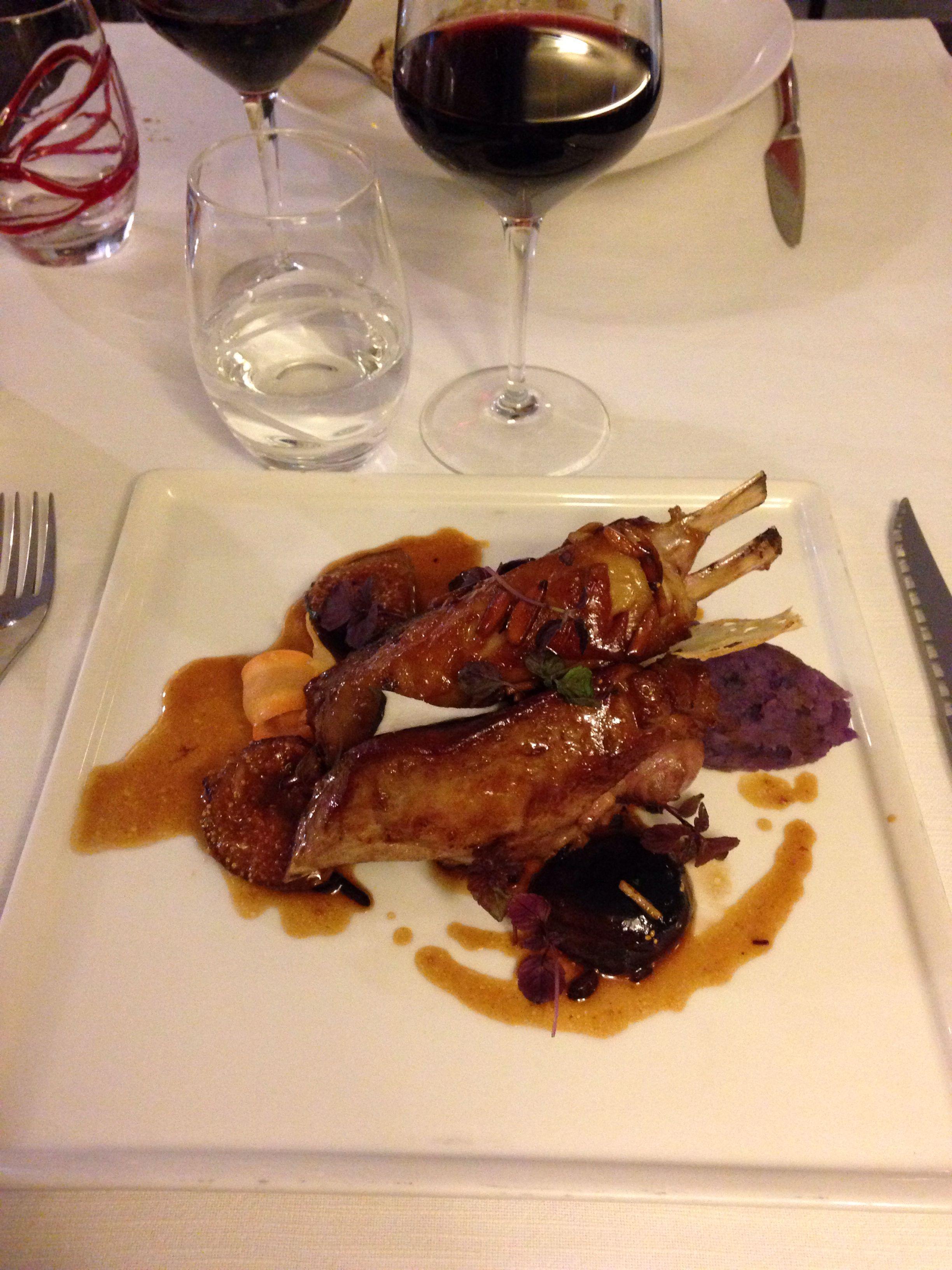 Côte d'agneau au miel et aux figues au restaurant Vino e Cucina à Nice