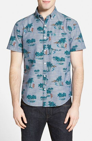 f9b3325a Original Penguin Heritage Slim Fit Tropical Print Short Sleeve Sport Shirt  available at #Nordstrom