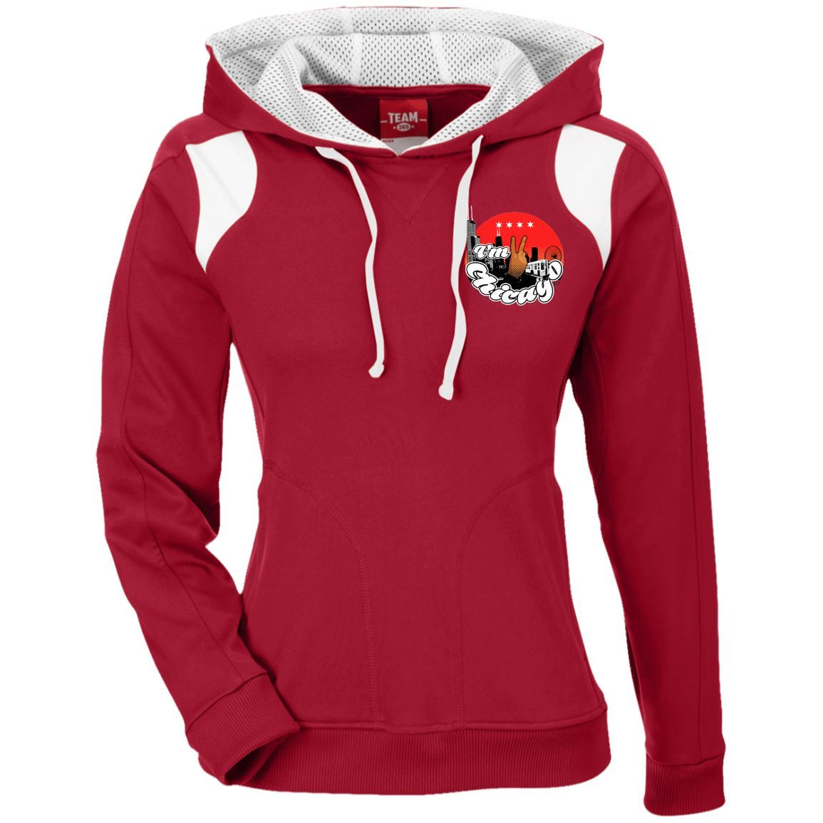 TT30W I'm 2 Chicago Ladies' Colorblock Poly Hoodie