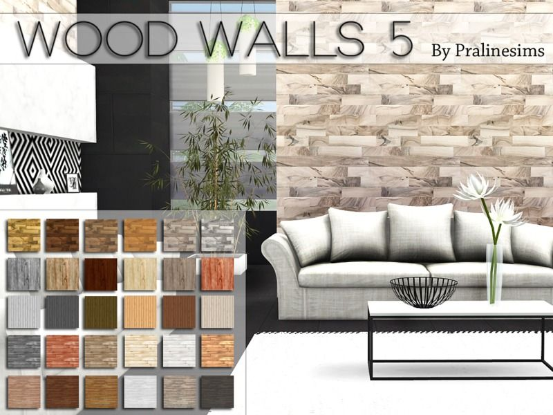 This set contains 5 wood walls.  Found in TSR Category 'Sims 4 Walls & Floors Sets'