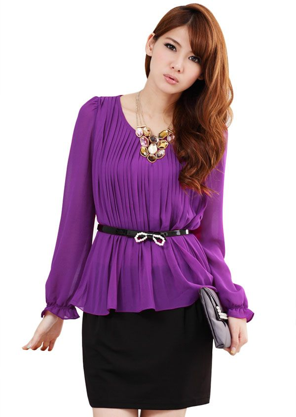 high quality dress for big size office ladies k1012711 Purple ...