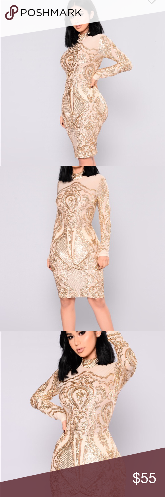a286b26a 💫✨Calcy Sequin Gold Midi dress💫✨ PRODUCT DETAILS Gold Midi dress Sequin  Mesh Dress Mock Neck Long Sleeves Back Zipper 100% Nylon Fashion Nova  Dresses ...