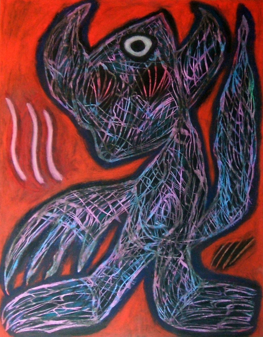 """Il fosco"" (Demone-felino-alieno) 2014 Tecnica mista su cartoncino 48x38 ©Pietro Gargano"