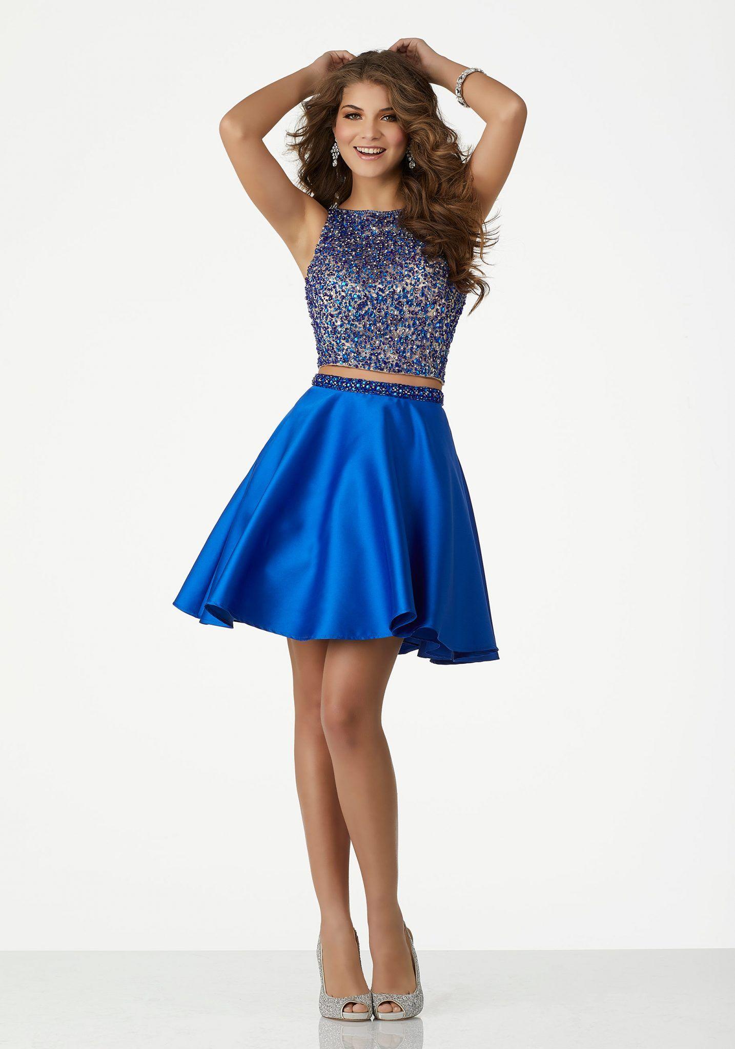 d26af1c28c195 2018 Abiye Elbise Kısa Abiye Modelleri Saks Mavi Kolsuz İki Parça Saten Etek  Boncuklu