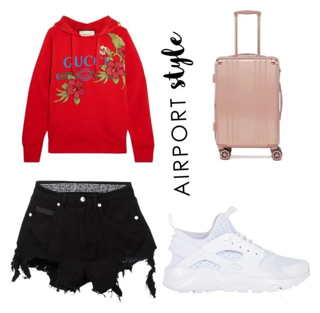 """""""Airport Style"""" by jordanbrookerichardson ❤ liked on Polyvore featuring NIKE, Gucci, CalPak and County Of Milan"""