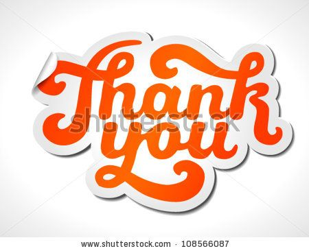 Hand lettering thank you sticker isolated on white vector illustration for your