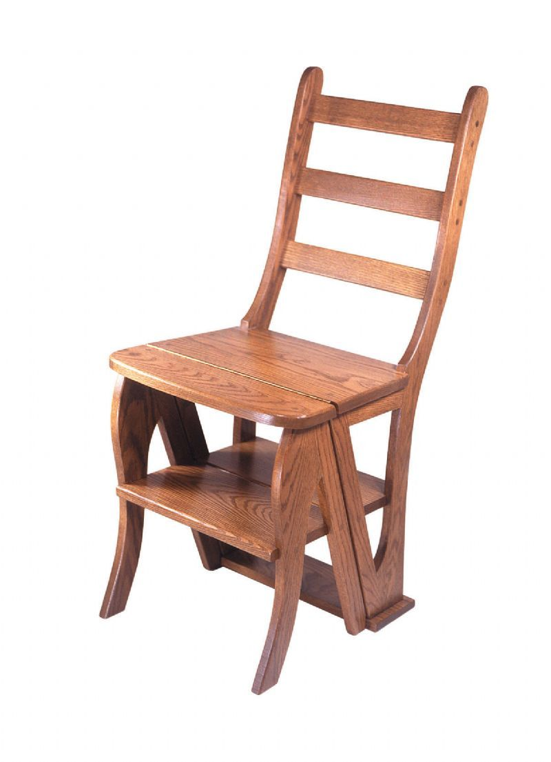 Superbe Amish Handcrafted Library Step Stool Chair Combo