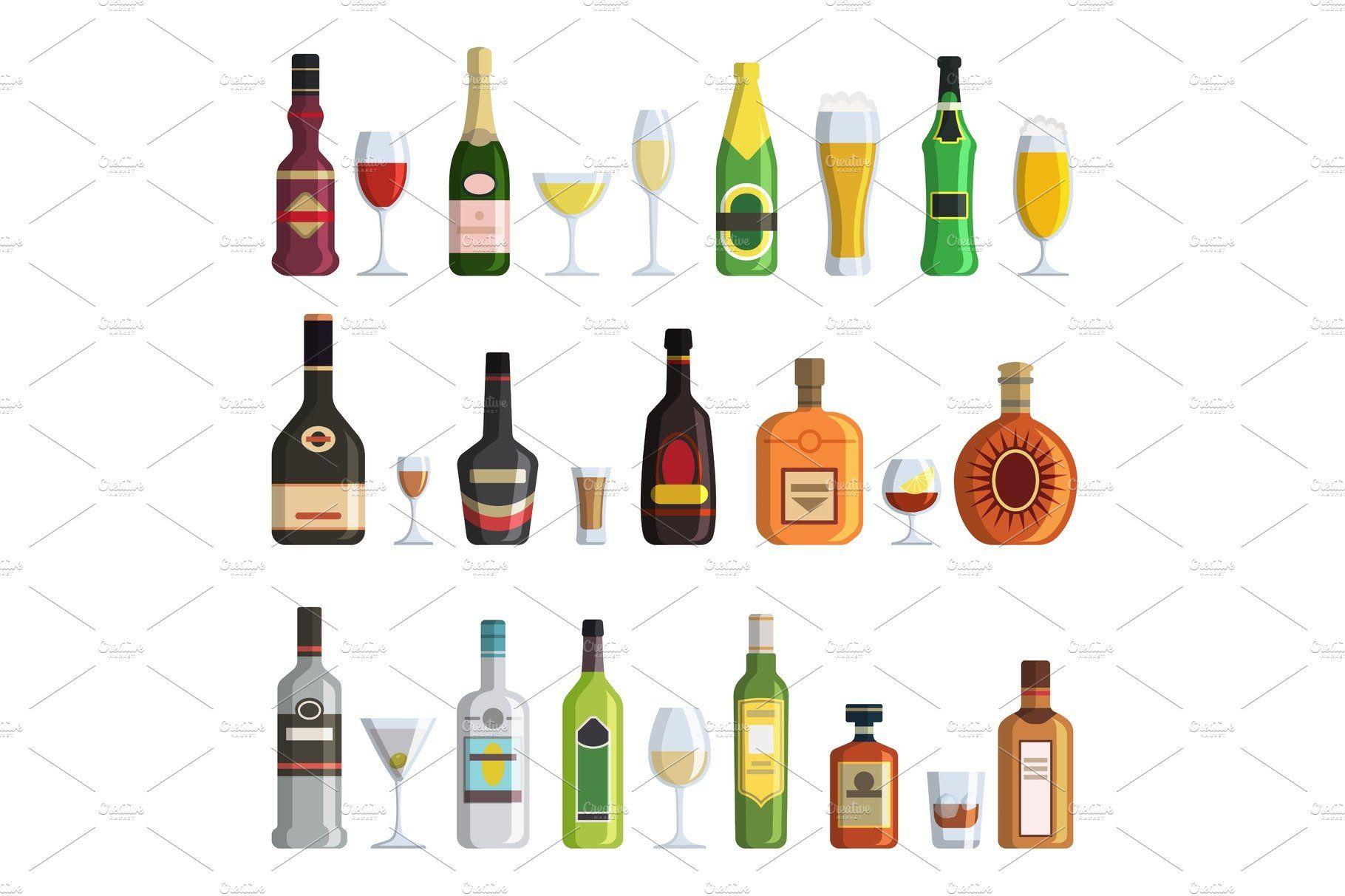 Illustrations Of Alcoholic Bottles And Glasses In Cartoon Style Cartoon Styles Alcohol Bottles Wine Design