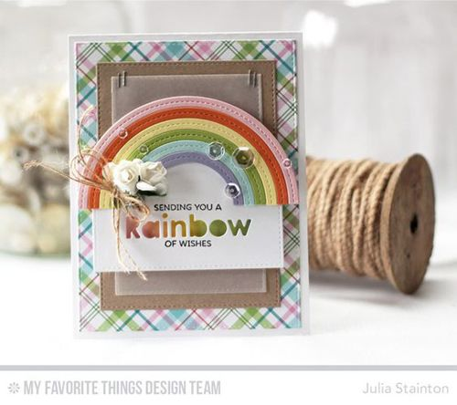 Handmade card from Julia Stainton featuring Stitched Rainbow Die-namics #mftstamps
