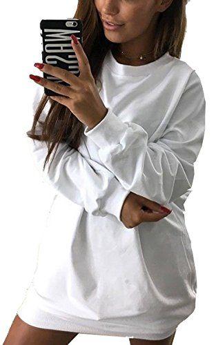ECOWISH Damen Langarmshirt Oversize Pullover Rundhals Shirt oberteile Top  Lang Sweatshirt Weiss S