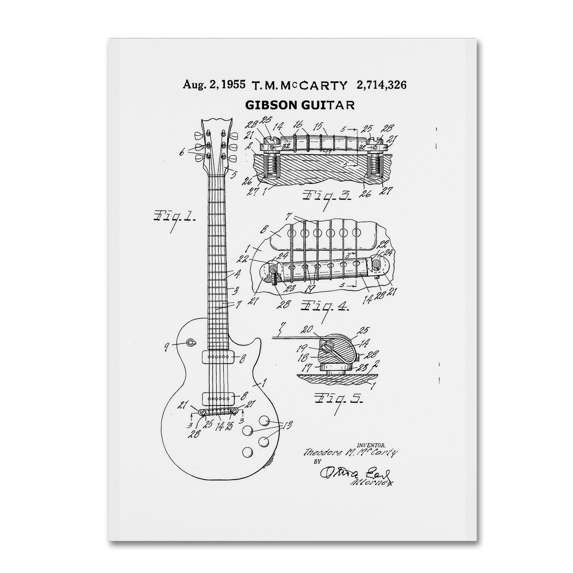 1955 Mccarty Gibson Guitar Patent by Claire Doherty Graphic Art on Wrapped Canvas in White