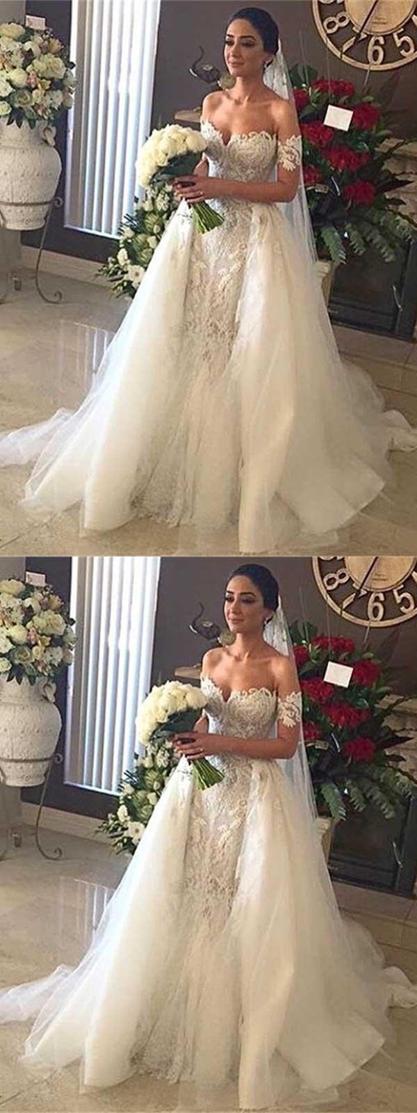 Princess Wedding Dress Offtheshoulder Detachable Train