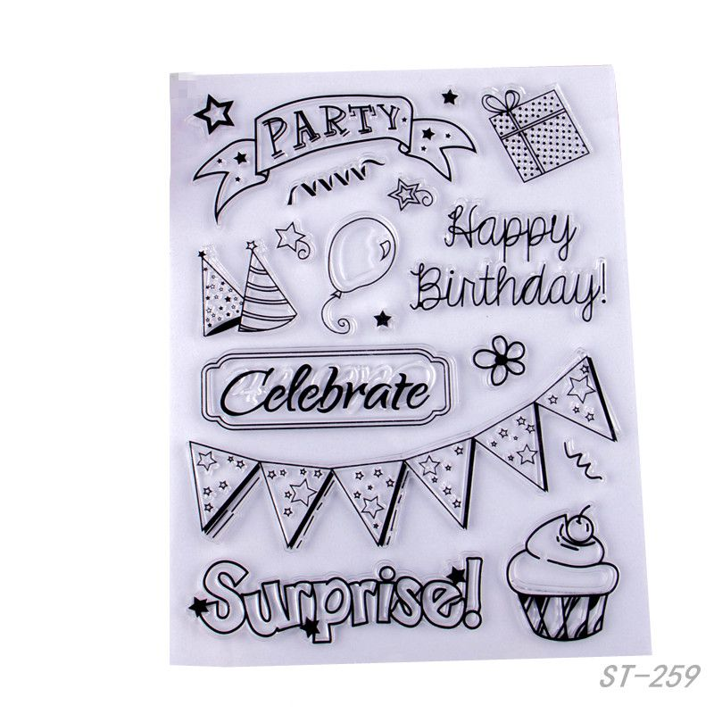 Silicone Stamps Happy Birthday Stamp Sheet Clear Stamp Sheet