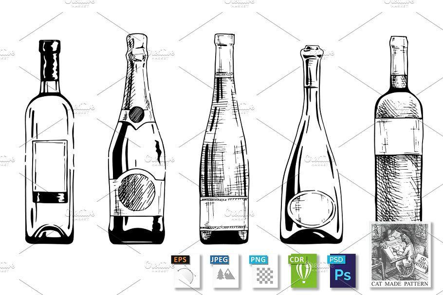 Wine Bottle Bottle Drawing Wine Bottle Bottle