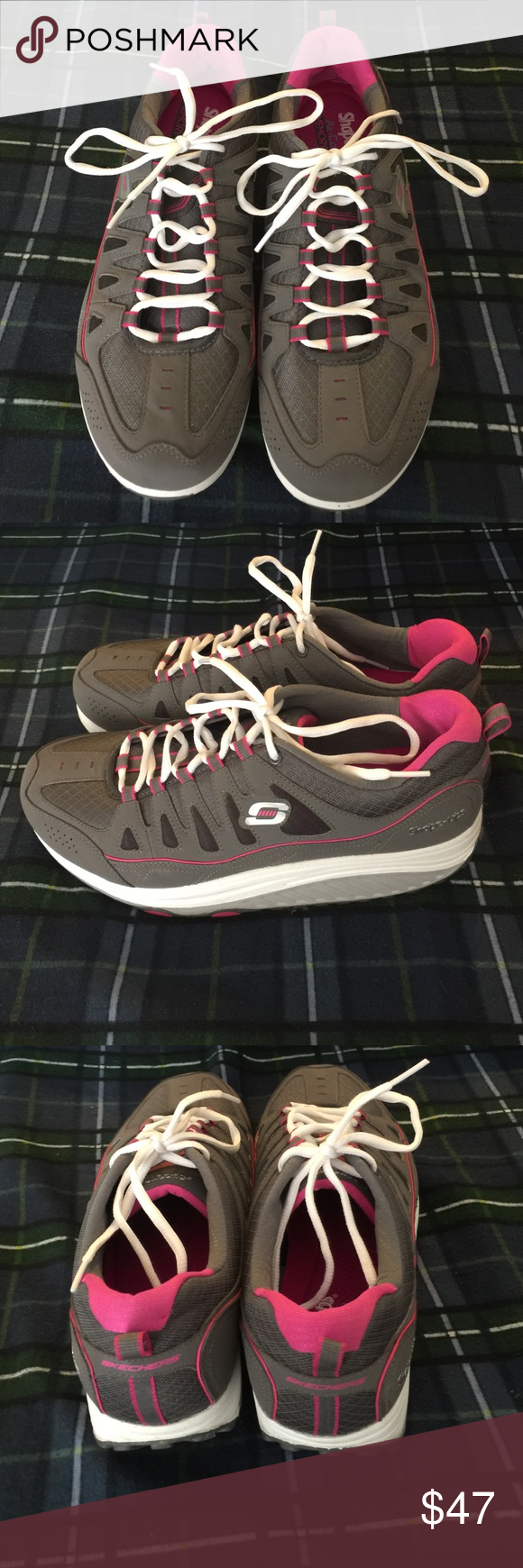 Skechers Shape-ups Charcoal and Pink LIKE NEW!! They are in like new condition. Size 11. Hard to find in this size and color. They are air cooled with Memory Foam. Can't bundle with these please. Already at the weight maximum. Skechers Shoes Athletic Shoes
