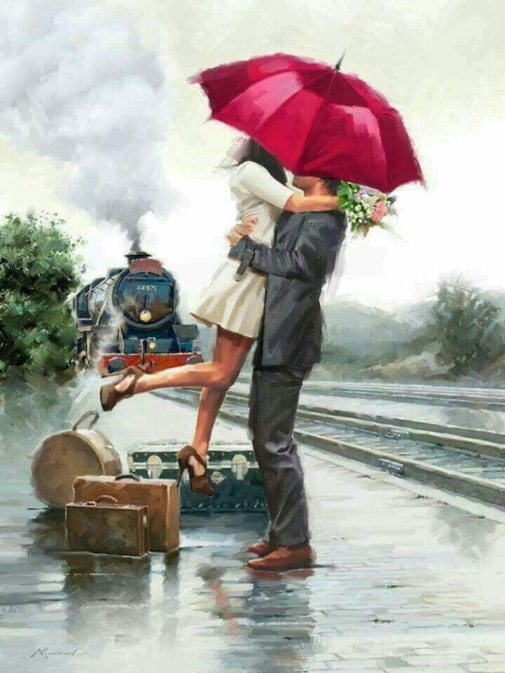 Couple on train Pinturas Paisagens cc172aa1eae4e