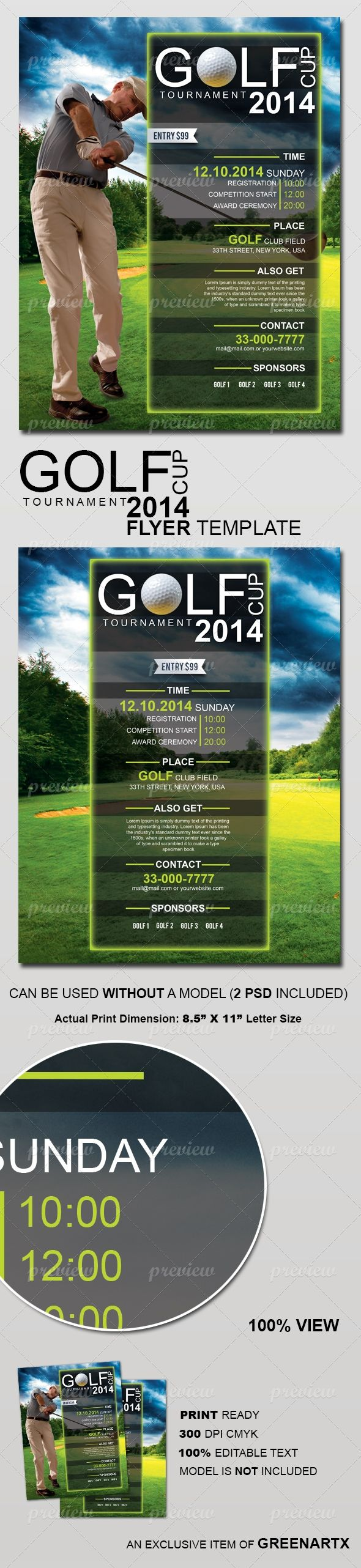 Golf Cup Tournament Flyer Template  Print    Flyer