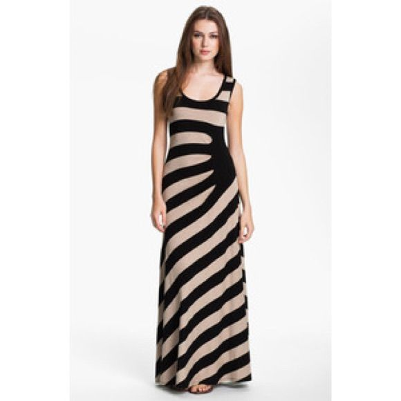 Calvin Klein Asymmetrical Striped Maxi
