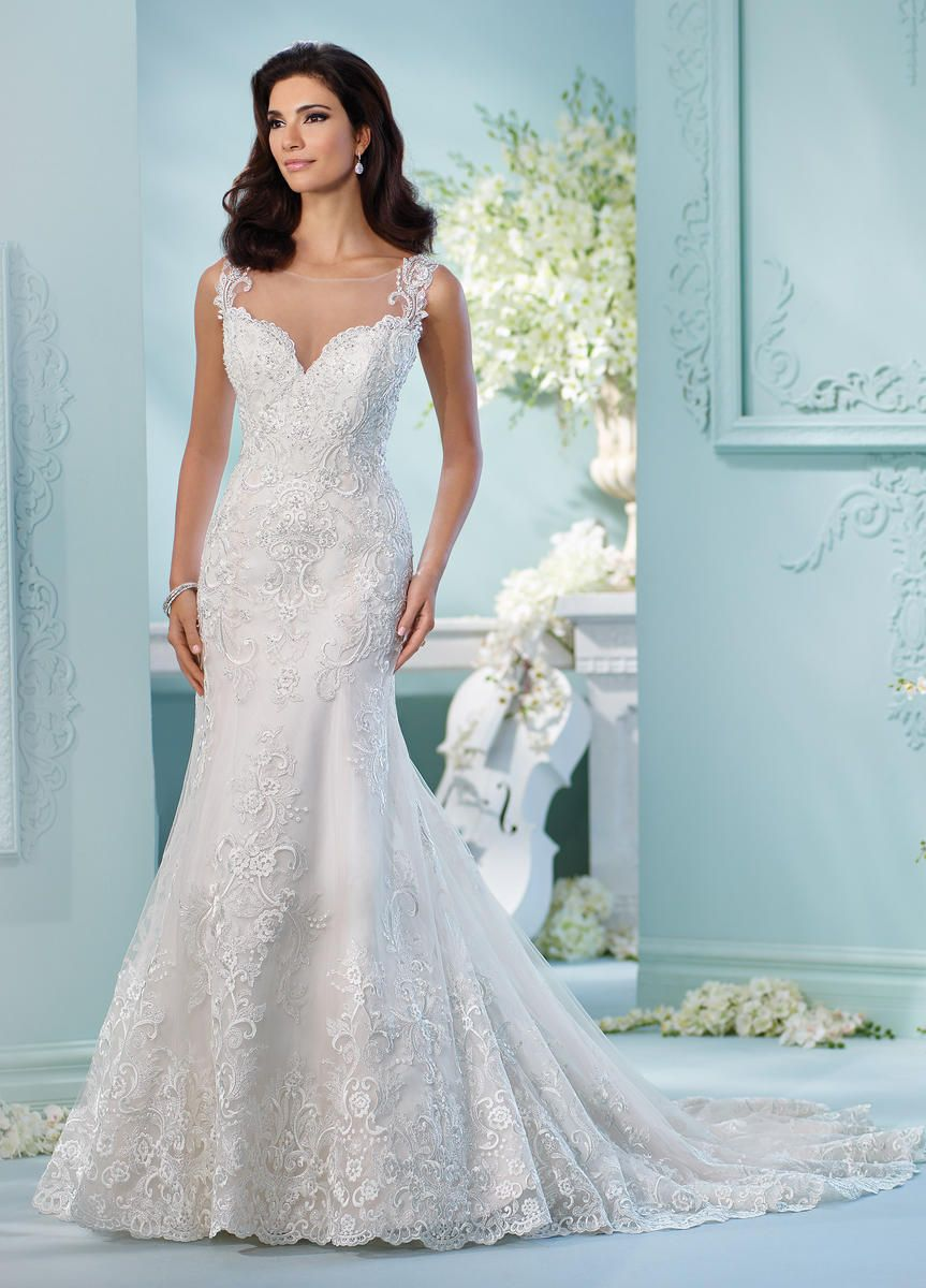 12a0cebdea1 David Tutera 216256 Linna is a Tulle over satin fit and flare wedding dress  with hand-beaded lace