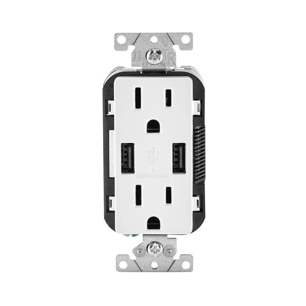 Leviton Decora 15 Amp Combination Duplex Outlet and USB Outlet ...