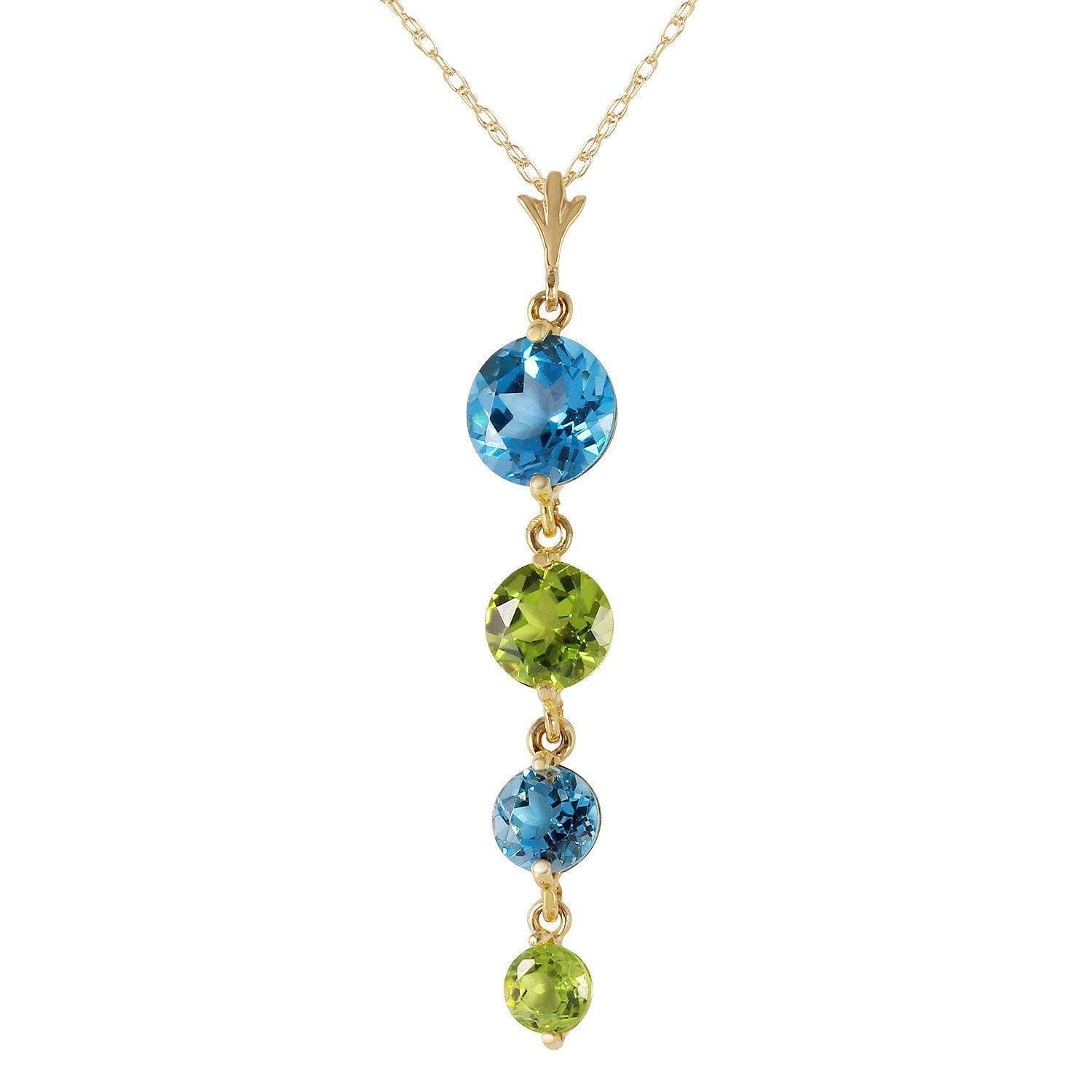 Ladies 14K Solid Gold Grass is Singing Blue Topaz Peridot Necklace
