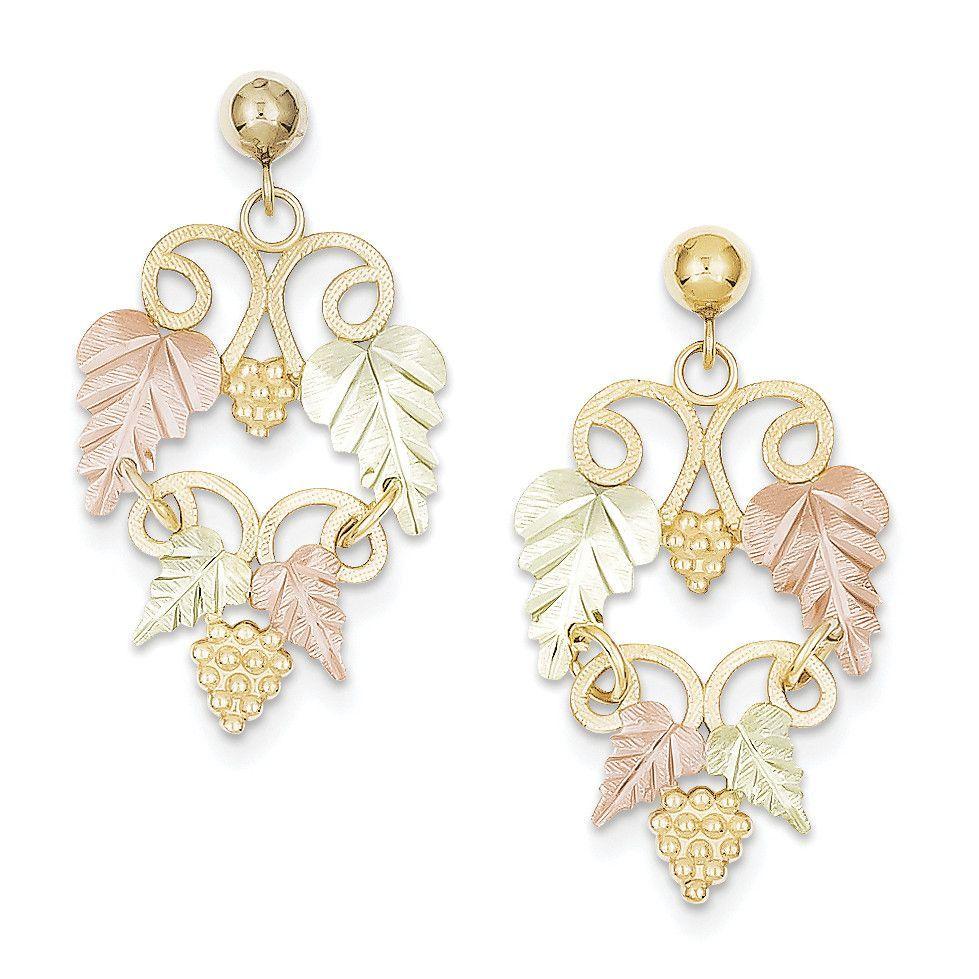 10k Tri Color Black Hills Gold Leaf Dangle Earrings