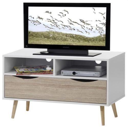 Vintage Tv Stand White Wood Media Storage Cabinet Retro Entertainment Unit Small