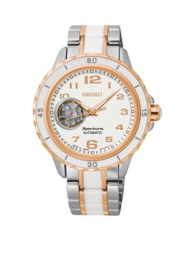 Seiko  Womens Stainless Steel Tri-Tone Automatic Watch