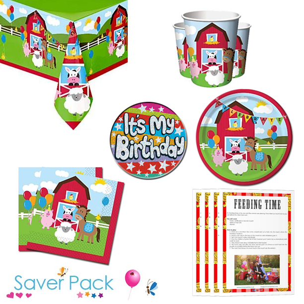 Farmhouse Fun Party Tableware Saver Pack With A Free It S My Birthday Badge And Downloadable Party Gam Childrens Party Supplies Farm Party Games Birthday Badge
