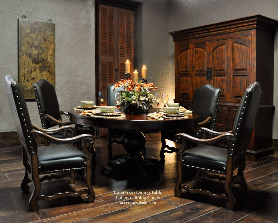 Tuscan Dining Table Tuscan Dining Chairs Leather And Solid Wood Tuscan Dining Rooms Dining Room Decor Tuscan Decorating
