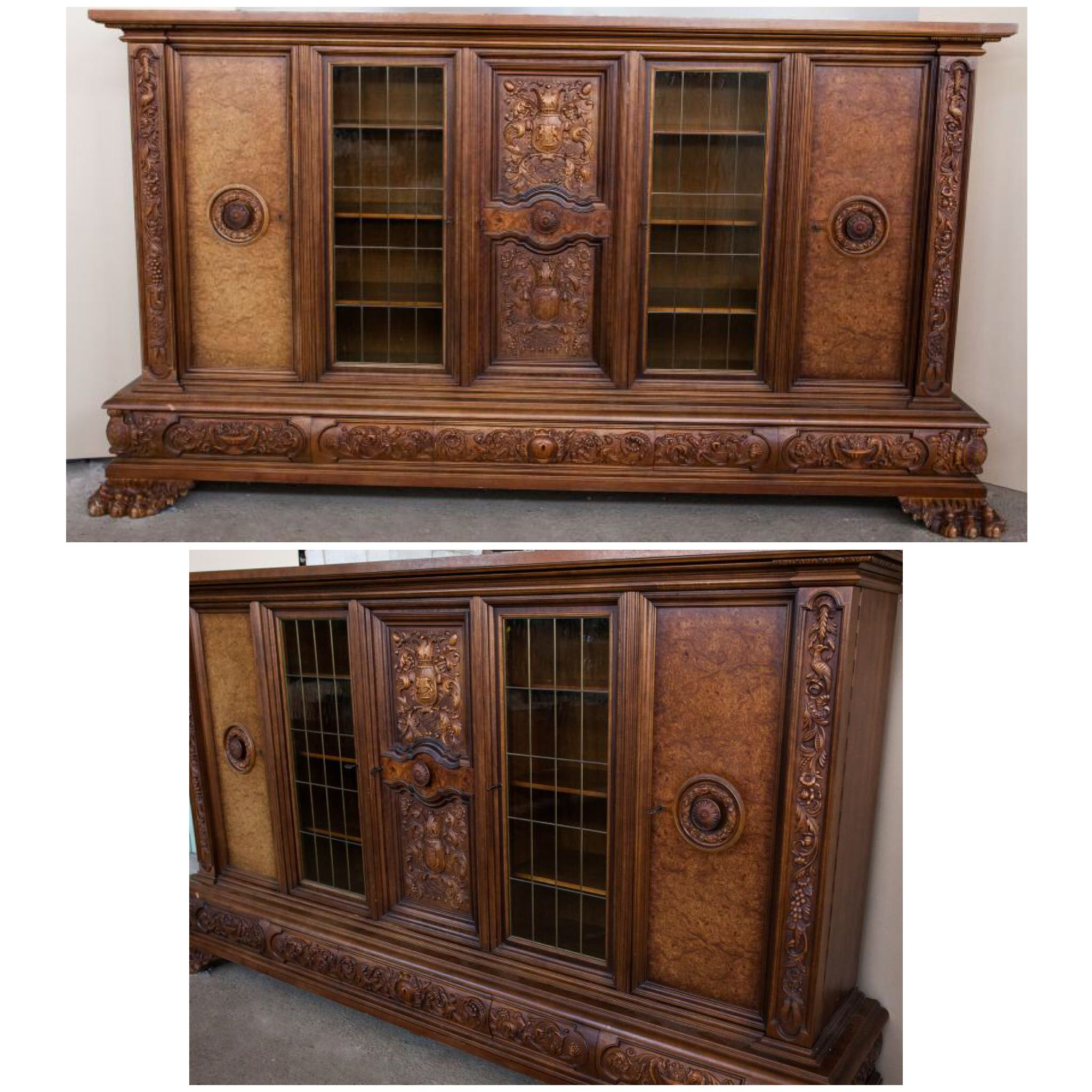 Старинный книжный шкаф из Европы 312х60х168 см 190 000р
