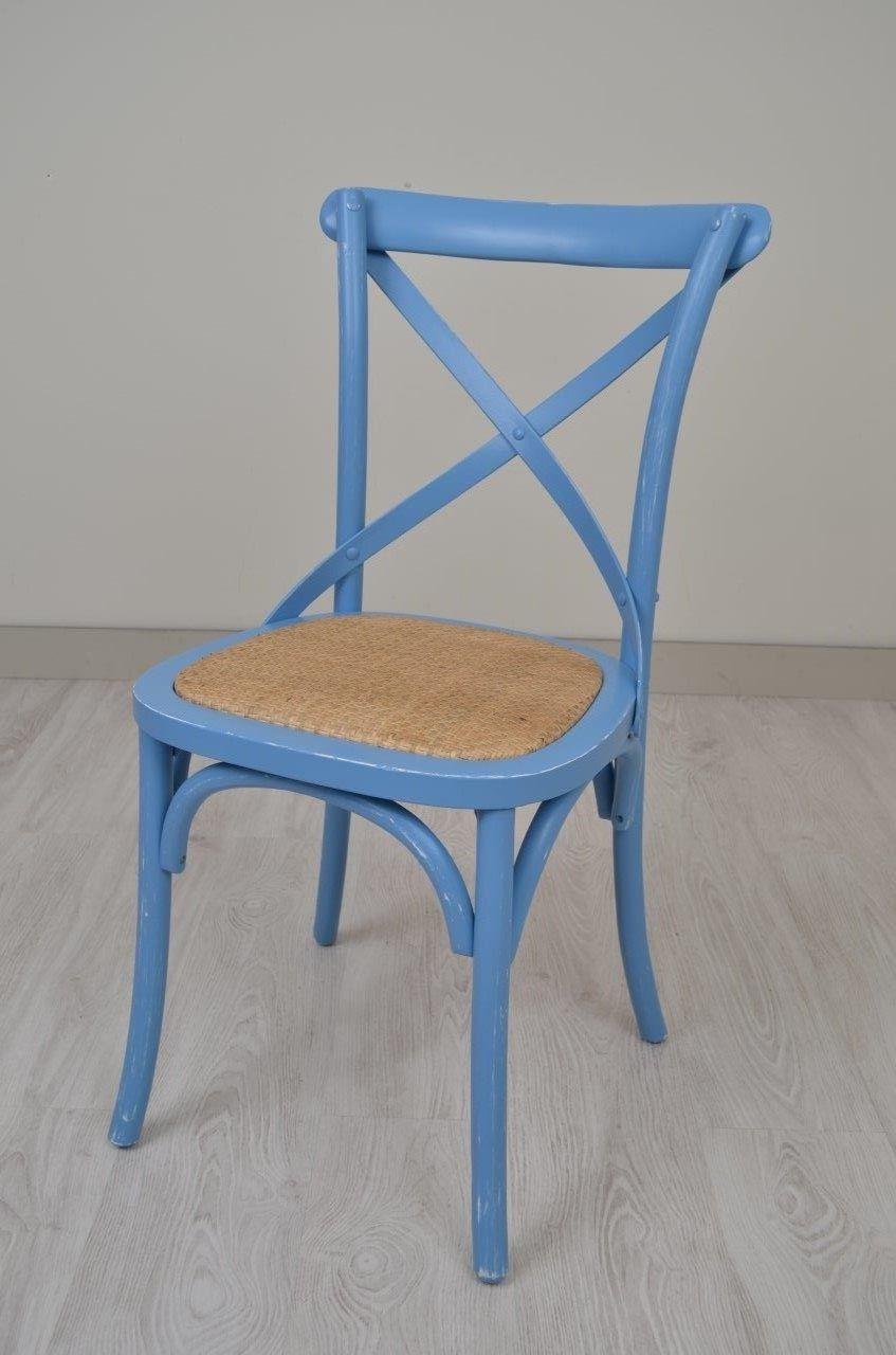Silla Aspa estilo Thonet azul vintage  Butacas sillas
