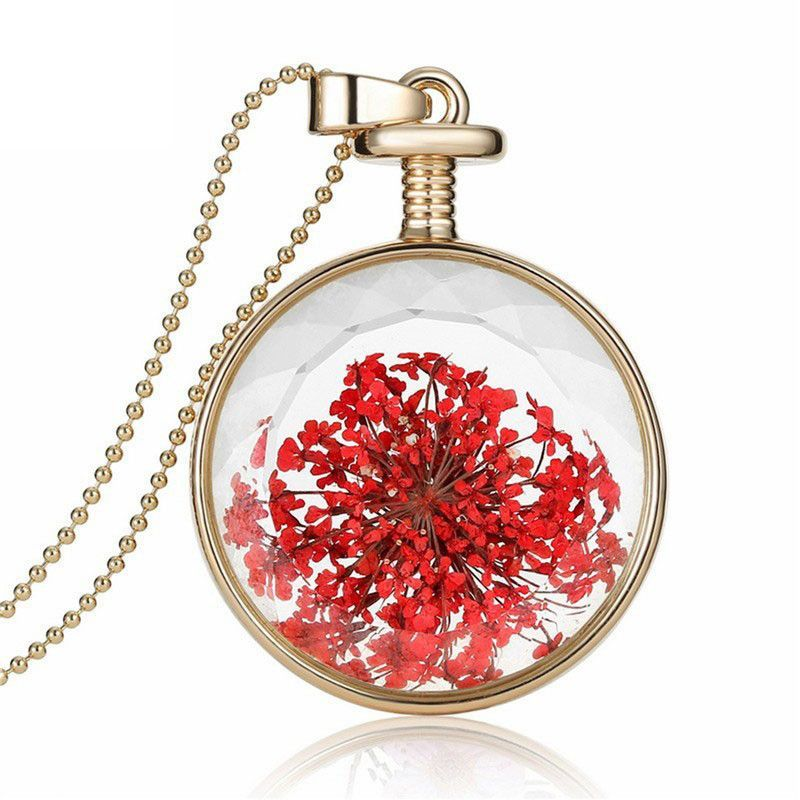 Floral Round Glass Necklace